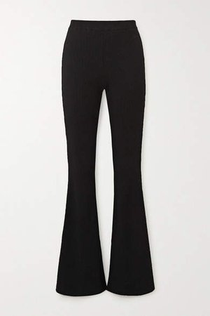 Lead With Love Stretch-jersey Flared Pants - Black