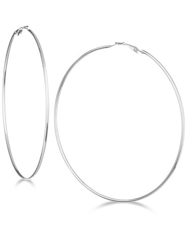 "GUESS 3 1/4"" Large Hoop Earrings & Reviews - Earrings - Jewelry & Watches - Macy's"