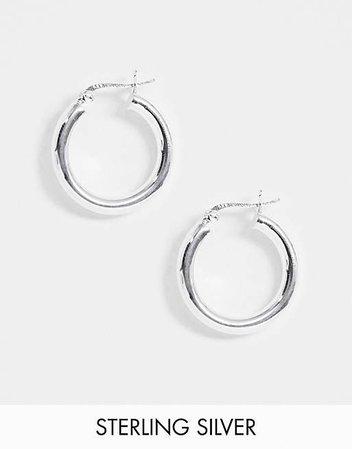 ASOS DESIGN sterling silver tube hoop earrings in 25mm   ASOS