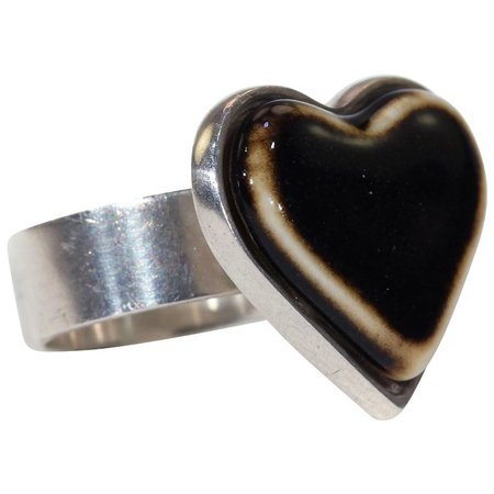 Vintage Anton Michelsen for Royal Copenhagen Silver Heart Ring : Victoria Sterling | Ruby Lane