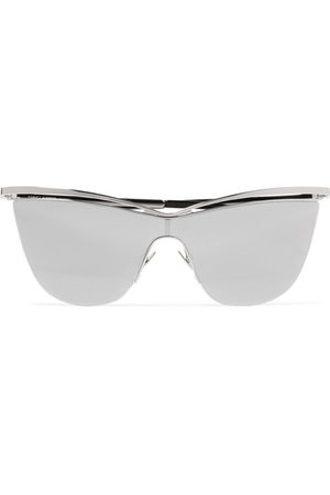Saint Laurent | Cat-eye silver-tone and acetate mirrored sunglasses | NET-A-PORTER.COM