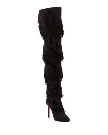 Christian Louboutin Bolcheva Fringe Red Sole Boots | Neiman Marcus