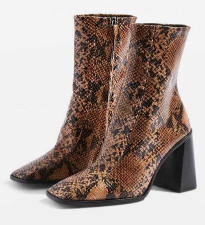 TOPSHOP Brown Snake Hurricane Boots