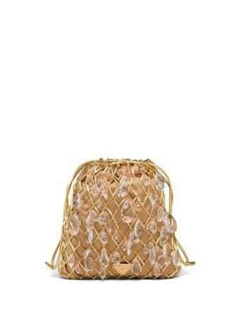 Prada Leather Mesh And Satin Clutch 1BC075VOPO2D6Q Gold | Farfetch
