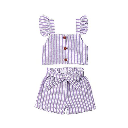 Amazon.com: Toddler Kids Infant Baby Girls Cute Pants Bowknot Strap Stripe Romper Jumpsuit Top Outfits Clothes Set (2-3 Years, Purple Suit): Clothing