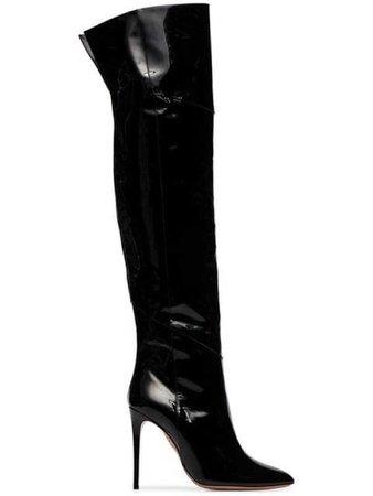 Vinyl Thigh High Boots
