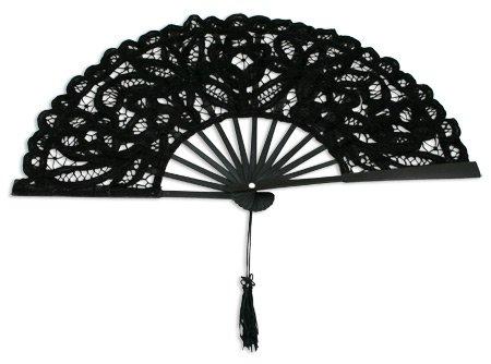 Battenberg Lace Fan, Black