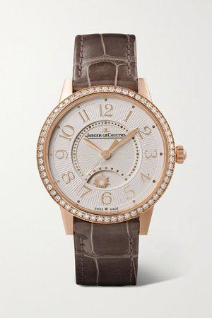 Rose gold Rendez-Vous Night & Day automatic 34mm medium pink gold, alligator and diamond watch | Jaeger-LeCoultre | NET-A-PORTER