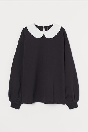 Collared Sweatshirt - Black - Ladies | H&M US