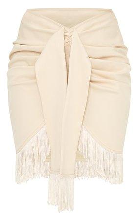 Stone Woven Tassel Tie Waist Wrap Skirt | PrettyLittleThing USA
