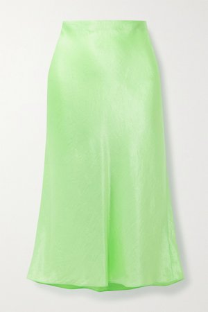 Lime green Hammered-satin midi skirt | Vince | NET-A-PORTER