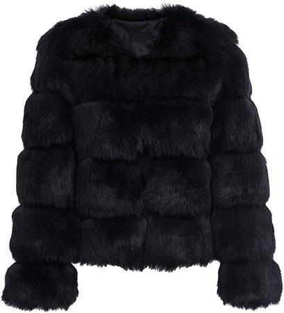Simplee Women Luxury Winter Warm Fluffy Faux Fur Short Coat Jacket Parka Outwear at Amazon Women's Coats Shop