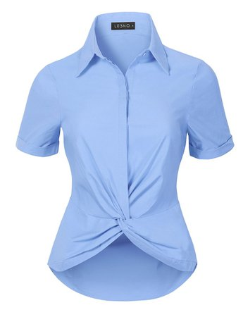 LE3NO Womens Ultra Stretchy Twist Front Short Sleeve Collared Button Down Shirt Top | LE3NO blue