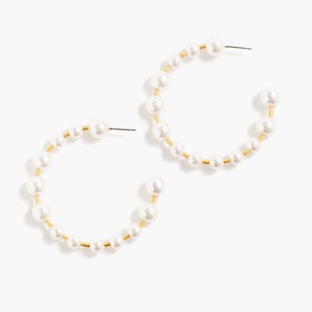 J.Crew: Bead Hoop Earrings For Women