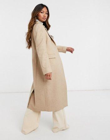 & Other Stories herringbone hourglass coat in beige | ASOS