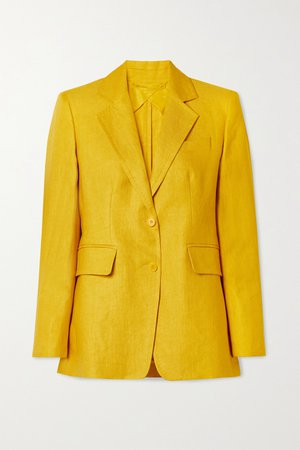 Yellow Darsena linen-twill blazer | Max Mara | NET-A-PORTER