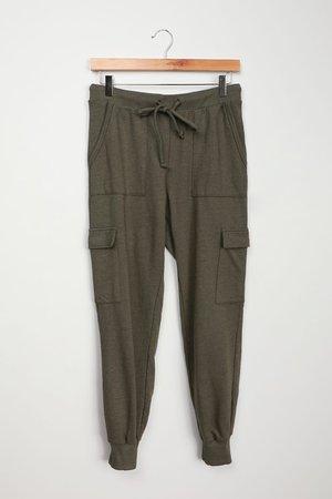 Olive Green Joggers - Utilitarian Joggers - Comfy Knit Joggers