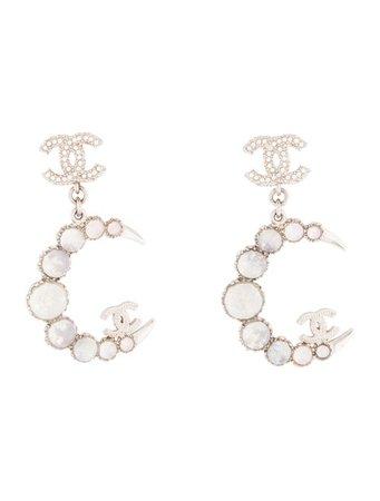 Chanel Resin & Crystal CC Crescent Moon Drop Earrings - Earrings - CHA337068 | The RealReal