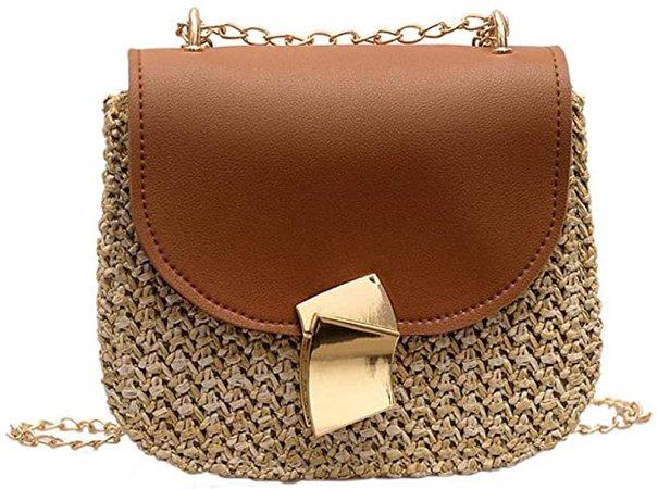 Pu Straw Shoulder Bag, Women Elegance Cross Body Hand Woven Straw Bag Retro Summer Beach Shoulder Bag Boho Style (Light brown): Amazon.co.uk: Clothing