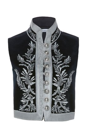 Paco Rabanne Embroidered Cotton Military Vest