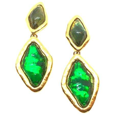 YVES SAINT LAURENT Vintage Green Clip-on Earrings For Sale at 1stdibs