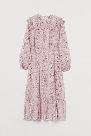 Ruffled Chiffon Dress - Pink