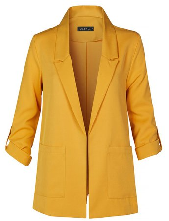 Casual Open Front Collared Blazer Jacket with Roll Up Sleeves And Pock | LE3NO yellow