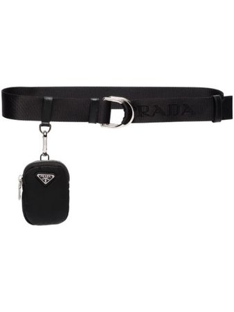 Shop black Prada logo pouch belt with Express Delivery - Farfetch