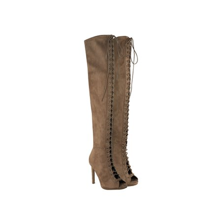 Mocha Brown Suede Thigh High Lace Up Peep Toe Stiletto Heel Boots - Andromana