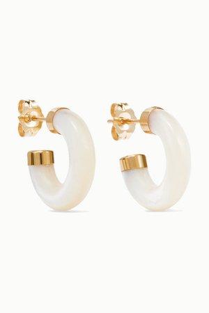 Loren Stewart | Stone gold mother-of-pearl hoop earrings | NET-A-PORTER.COM