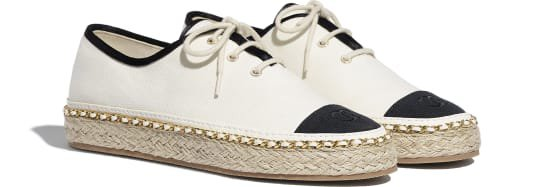 Lace-up shoes, fabric, ivory and black - CHANEL