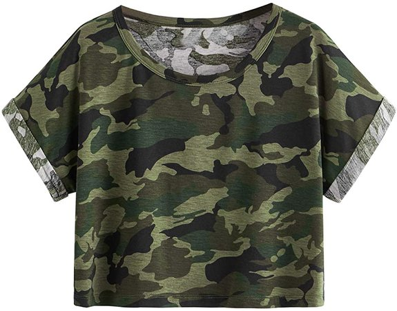 SweatyRocks Women's Casual Round Neck Short Sleeve Camo Print Basic Crop Top T-Shirt Multicoloured XL at Amazon Women's Clothing store