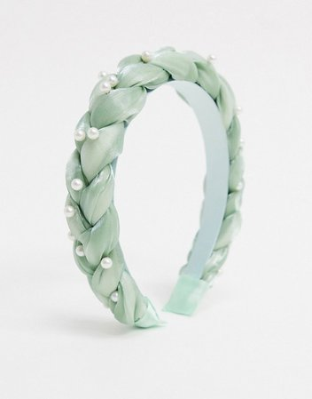 Topshop padded organza headband in mint green with faux pearl detail | ASOS