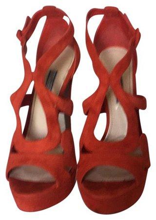 "Prada Color ""lacca"" - Blood Orange Calzature Donna Platforms Size US 9 Regular (M, B) - Tradesy"