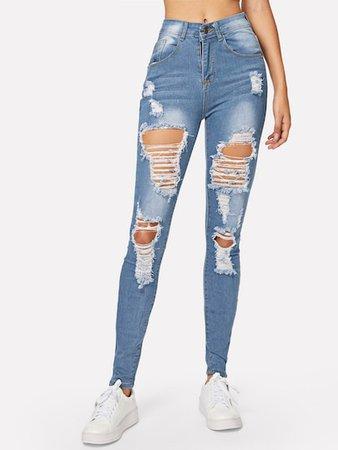 Ripped Bleach Wash Skinny Jeans | ROMWE
