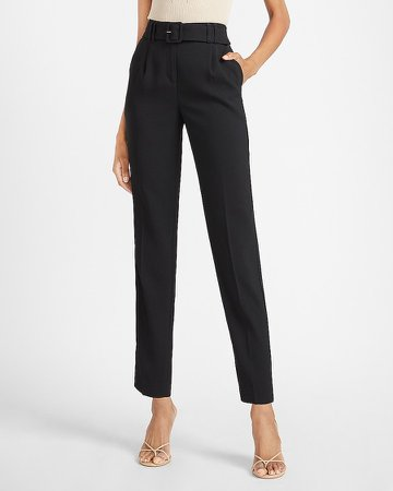 High Waisted Belted Ankle Pant