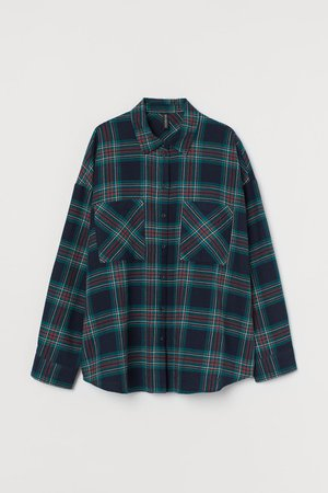 Cotton Flannel Shirt - Dark blue/plaid - Ladies   H&M US