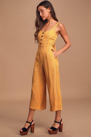 Cute Yellow Jumpsuit - Wide-Leg Jumpsuit - Button-Front Jumpsuit