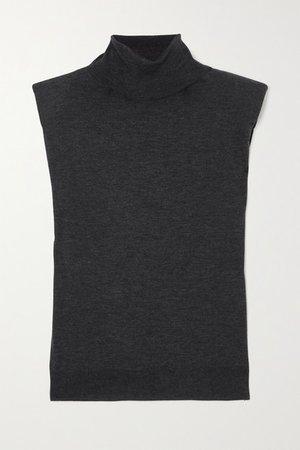 Melange Wool And Cashmere-blend Turtleneck Tank - Black