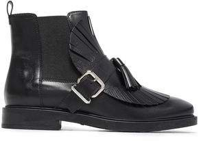 Buckled Fringed Leather Ankle Boots