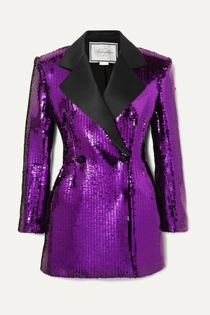 Redemption | Double-breasted satin-trimmed sequined crepe mini dress | NET-A-PORTER.COM