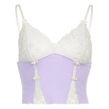 Cute Mesh Lace Patchwork Y2K Cami Top – algrandeboutique