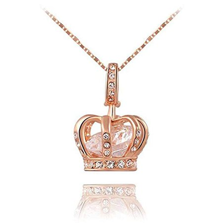 Amazon.com: TIDOO Jewelry Womens Queen Crown Pendant Necklace 18.5+2.16inch Chain- 3 Lays Rose Gold/Platinum Plated with Austrain Crystals: Clothing