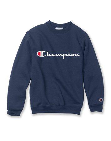 navy blue champion crewneck