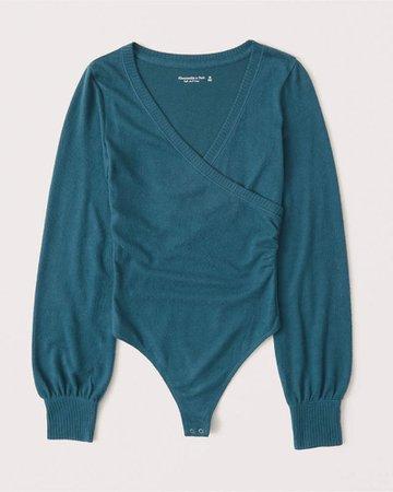 Women's Long-Sleeve Cozy Wrap Bodysuit | Women's New Arrivals | Abercrombie.com