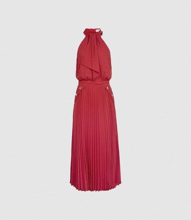 Nina Pink Halterneck Pleated Midi Dress – REISS