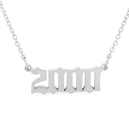 Amazon.com: HUTINICE Birth Year Number Necklace, Old English Silver Pendant Necklace for Women and Girl Birthday Gift 18 inch Gold Chain Stainless Steel Friendship Jewelry...: Jewelry