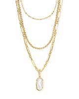 Elisa Gold Triple Strand Necklace in Ivory Mother-of-Pearl