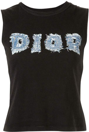 Pre-Owned denim logo patch sleeveless T-shirt