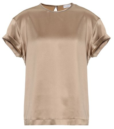 Stretch silk satin T-shirt